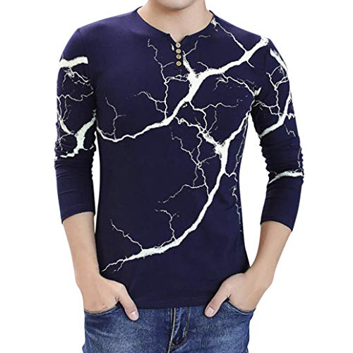 vermers Mens Clothing Clearance Sale - Fashion Men's Lightning Printed Tops Casual Long Sleeve T Shirt Button Blouse(XL, Navy)