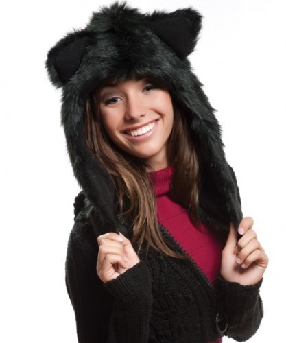 Image Unavailable. Image not available for. Color  Animal Black Wolf Hoodie  Faux FUR Hat 3995288ddbf7