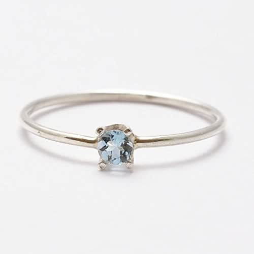 aquamarine ring simple sterling silver gifts