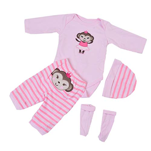 - Prettyia Fashion Monkey Pattern Jumpsuit Casual Outfits for 22-23inch Reborn Baby Girl Doll Decor