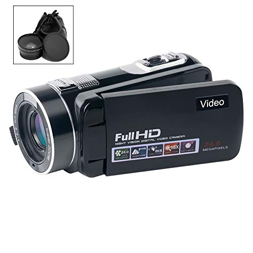 Camcorder Video Camera Full HD 1080p 24.0MP Camcorders with Wide Angle Closeup Lens Support Remote Controller by SUNLEA
