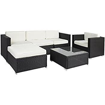 best choice products 6pc outdoor patio garden furniture wicker rattan sofa set sectional black