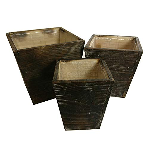(Admired By Nature Set of 3 Contemporary Liner Square Wood Pot Planter, 080-NTRL)