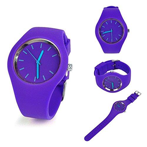 MYEDO Women Soft Ultra-Thin Silicone Band Quartz Analog Sport Jelly Watch Wrist Watches (Purple)