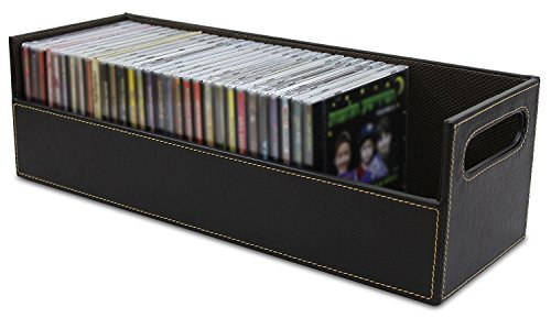 (Stock Your Home CD Storage Box with Powerful Magnetic Opening - CD Tray Holds 40 CD Cases for Media Shelf Storage and Organization)