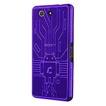 Xperia Z3 Compact Case, Cruzerlite Bugdroid Circuit TPU Case Compatible for Sony Xperia Z3 Compact - Purple