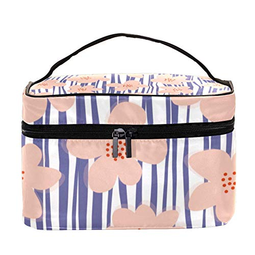 DJROW Make Up Cosmetics Pouch Bag Stripes Flowers Blush Poppy Purple Multi function Portable Toiletry Organizer for Travel Makeup Utensils
