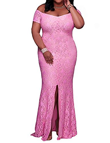 YIRENWANSHA Sexy Off The Shoulder Prom Dresses for Women Maxi Gowns Party Robes Plus Size High Split Floral Costume DPM011 Dark Pink Size 16