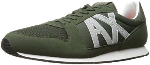 Armani Exchange A|X Men's Oversized AX Logo Mesh Athletic Sneaker Dark Moss