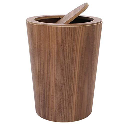 MADHEHAO Houten Prullenbak Met Swing Deksel, ronde Keuken Vuilnisbak, Japanse Kleine Afvalbak Afvalmand Voor Kantoor…