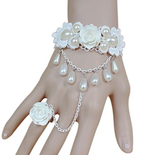 Hopper Cam (Time Pawnshop Elegant White Lace Rose Ring Adjustable Lady Wrap Bracelet)