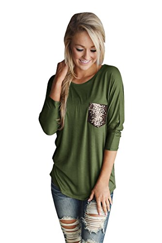 Welkomdream Womens Blouse 3/4 Sleeve Crew Neck T Shirt Basic Casual Loose Tunic Tops with Pocket