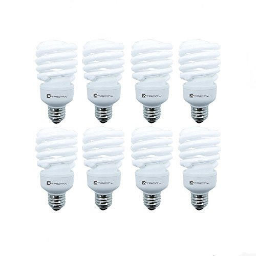 Compact Fluorescent Fixture - Compact Fluorescent Light Bulb T2 Spiral CFL, 4100k Cool White, 23W (100 Watt Equivalent), 1520 Lumens, E26 Medium Base, 120V, UL Listed (Pack of 8)