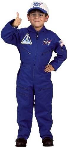 Aeromax Jr. NASA Flight Suit, Blue, with Embroidered Cap and Offical Looking Patches