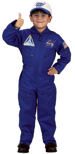 Aeromax Jr. NASA Flight Suit, Blue, with Embroidered Cap and official looking patches, size 4/6. -