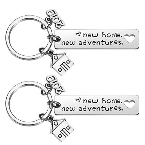 2PCs New Home Keychain 2019 Housewarming Gift for New Homeowner House Keyring Moving in Key Chain New Home Owners Jewelry from Real Estate ()
