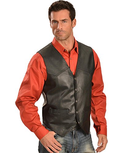 Black Lamb Leather - Scully Men's Leather Vest Black X-Large