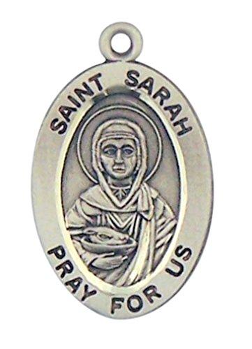 HMHReligiousMfg Sterling Silver Patron Saint Sarah Oval Medal Pendant, 7/8 Inch