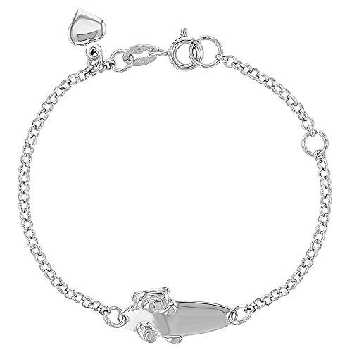 925 Sterling Silver Identification Bracelet Little Teddy Bear Tag ID for Baby 5