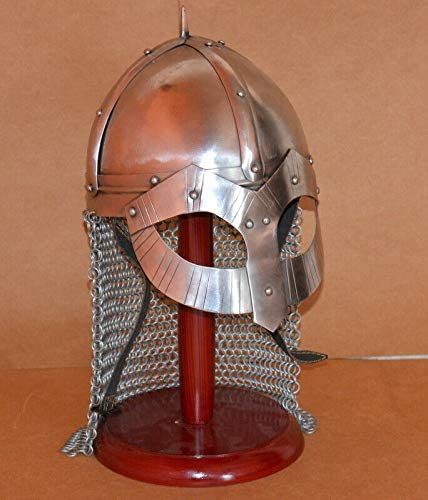 antiquegifts2019 medieval armour viking combat helmet militaria with wooden stand replica