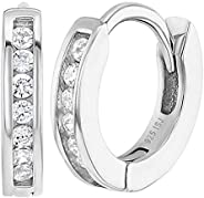 925 Sterling Silver CZ Small Hoop Earrings for Girls Kids Toddlers Infants 0.39&