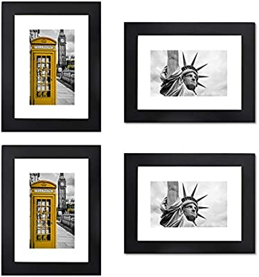 11541c63737 RIY Picture Frames 5x7 Black Wood Tabletop Wall Decorations Picture Frame  Set of 4