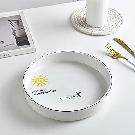 CZDXM Creative Nordic Style - Plato Hondo de cerámica para Cena, Plato de arroz, Plato de Sopa Recto, Plato de Pizza para el hogar, Plato de arroz, Plato de 24,1 cm: Amazon.es: