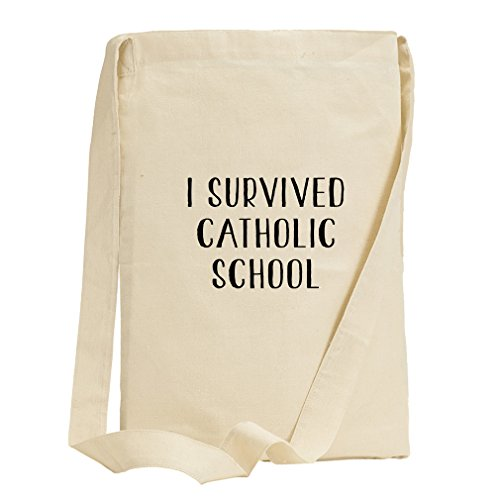I Survived Catholic School Canvas Sling Tote Bag by Style in Print