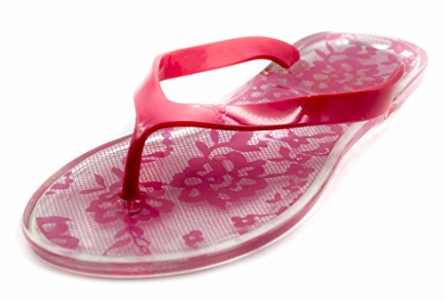 Charles Albert Femmes Dentelle Impression Gelée Sandale De Plage Flip Flop (étanche) Corail