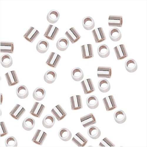Beadaholique 20-Piece Sterling Crimp Beads, 2 by 2mm, (Sterling Silver 2x2mm Crimp Beads)