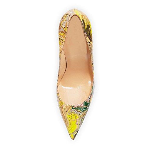 MerMer Zapatos De Tacón Alto de Aguja Puntiaguda De Moda Colorido Para Fiesta