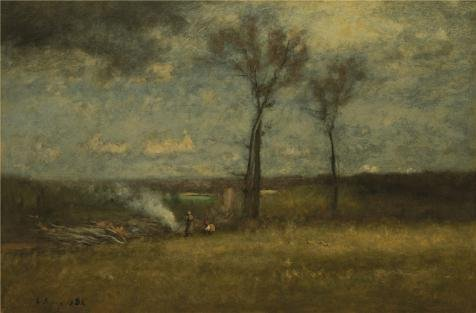Oil Painting 'George Inness,Brush Burning,1884', 20 x 30 inch / 51 x 77 cm , on High Definition HD canvas prints is for Gifts And Garage, Gym And Powder Room Decoration, personal (Chinese Brush Painting Handbook)