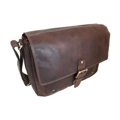 Vintage Messenger Bag /Umhängetasche aus geöltem Leder für 13-Laptops von Shalimar Dark Muskat