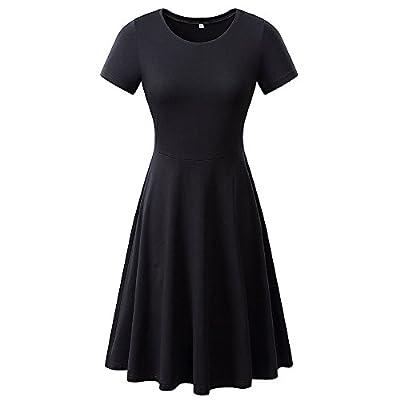 AIKEN Womens Summer Casual Basic Dress Tops Swing Short Sleeve Beach Tshirt Black