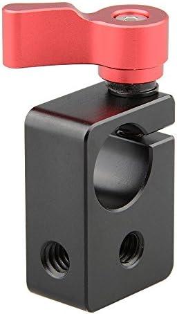 CAMVATE 15mmロッドクランプ1/4ネジホール付き カメラ肩装備サポート&DIY アクセサリー 黒&赤