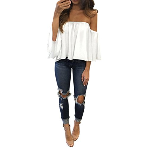 Price comparison product image BSGSH Women's Off Shoulder Tops Summer Sexy Short Bell Sleeves Strapless Blouses for Beach Party (M, White)
