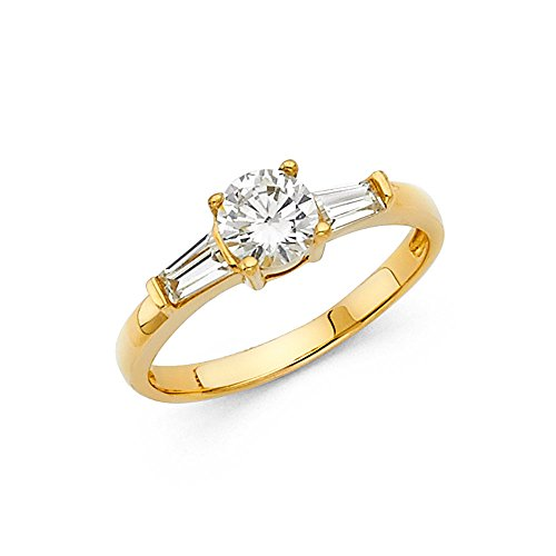 (Round CZ Engagement Ring 14k Yellow Gold Anniversary Solitaire CZ Band Baguette Side Stones Size 8.5)