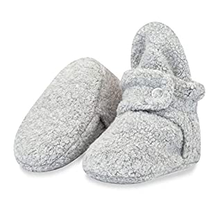 Zutano Cozie Fleece Baby Booties with Cotton Lining, Unisex, For Newborns, Infants, and Toddlers, Heather Gray, 6M