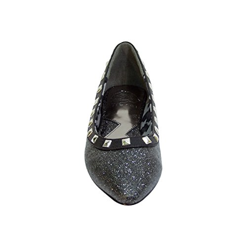 Black Size Wide amp; Pointed Slip Flats Square On Liner Top Width Studded Fuzzy Toe Measurement Women Emily Haqx1B