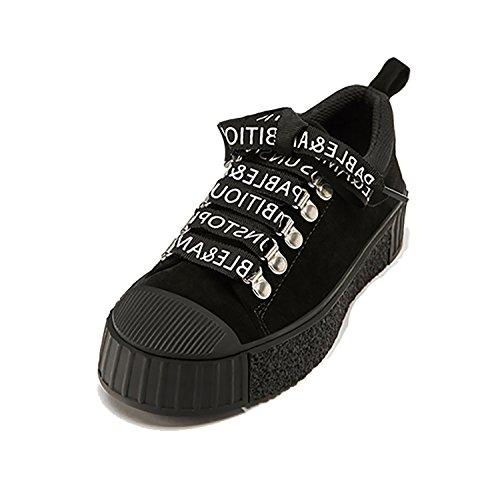 Rainstar Donna Casual Lettera Lace Up Soprt Sneaker Signore Scarpe Hip Hop Piatte Nere