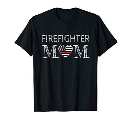 Firefighter Mom - Support the Thin Red Line Flag T-shirt ()