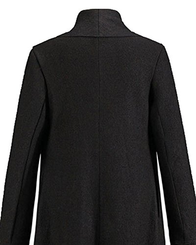 Coat Q Ruby Black Long Women Loose Winter Wool Waterfall Sleeve Casual Cardigan Outerwear Jacket rrqfW6nZ