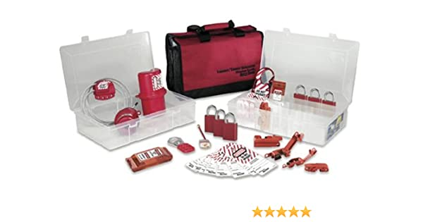 Master Lock Portable Lockout Pouch with Electrical Lockout Devices Includes 1 Aluminum Padlock