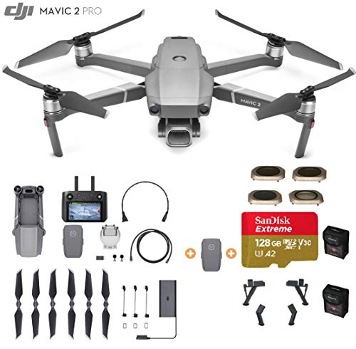 DJI Mavic 2 Pro Drone Quadcopter with Smart Controller, Must Have Bundle, Extra Battery, 128GB SD Card, Filter Set (CPL, ND8, ND16, ND32), Landing Gear and More