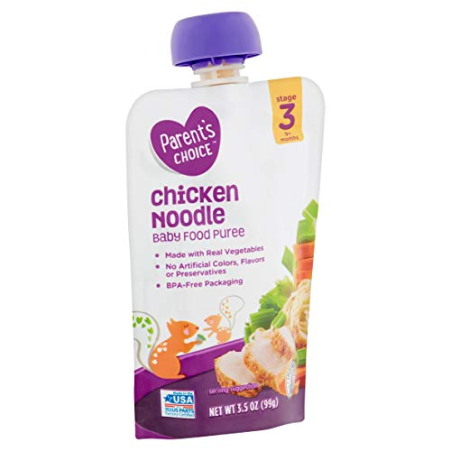 Parent's Choice Chicken Noodle Baby Food Puree, Stage 3, 9+ Months, 3.5 Oz x 12 Packages