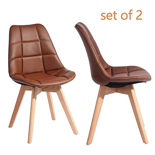 GreenForest Side Chairs Set of 2, Mid-Century Modern PU Leather Living Dining Room Chairs Upholstered Seat and Back Leisure Eames Chair, Brown