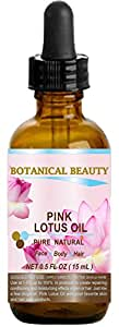 "PINK LOTUS OIL Pure/Natural 0.5fl oz - 15ml. For Face, Body, and Hair.""One of the best skin revitalizing and anti aging oils. Rich in natural source of Vitamin C, proteins and minerals."""