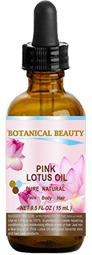 PINK LOTUS OIL Pure / Natural 0.5fl oz - 15ml. For Face, Body, and Hair.