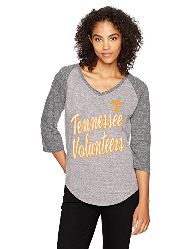NCAA Tennessee Volunteers Women's Ots Triblend Raglan Distressed Tee, Medium, Vintage Grey