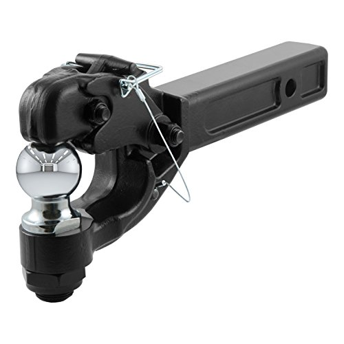 CURT 48007 Pintle Hitch with 2-Inch Trailer Ball Black Fits Receiver 16,000 lbs, 15-1/4-Inch Length ()